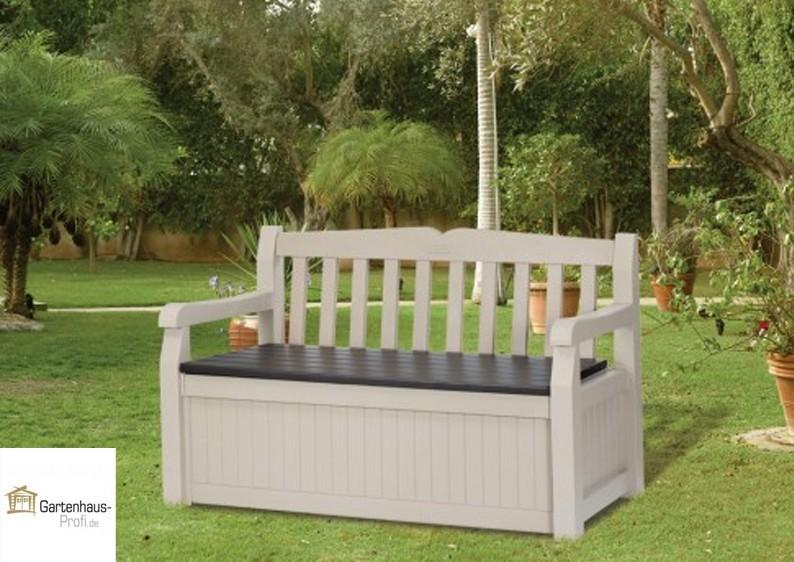 Tepro Kunststoff Aufbewahrungsbox Gartenbank Garden Bench 265 Liter - beige-braun