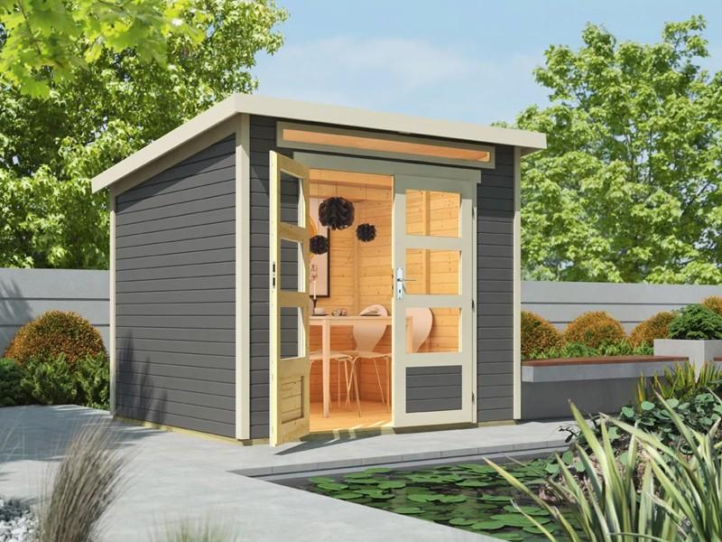 Wolff Finnhaus 19mm Holz-Gartenhaus Venlo mit Flachdach - titangrau