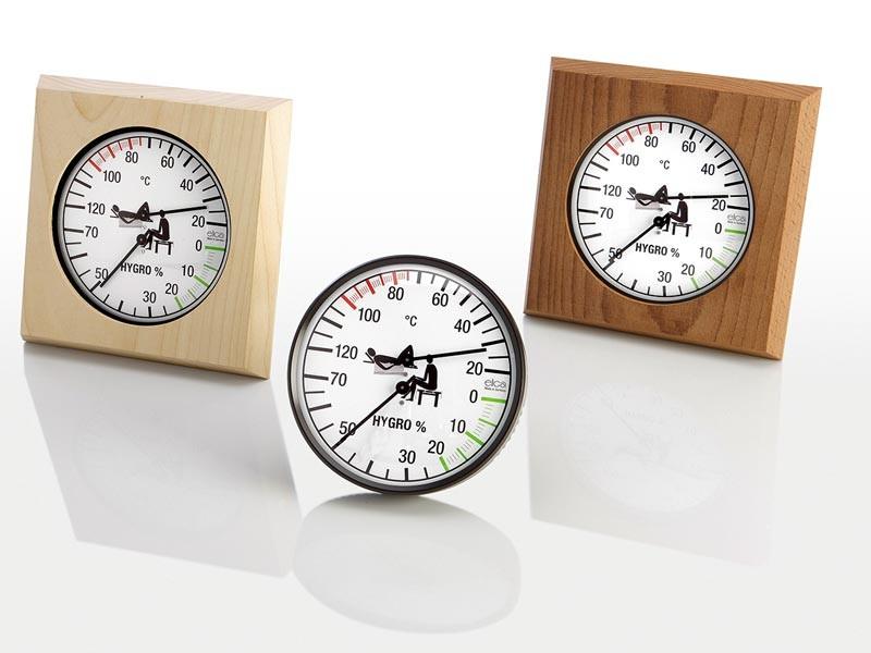Sauna Zubehör Klimamesser schwarz-weiß 135 mm im Rahmen aus Thermoholz 180 mm