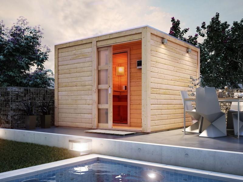 Karibu Gartensauna Flachdachhaus Cuben inkl. Vorraum und Dachbahn - terragrau