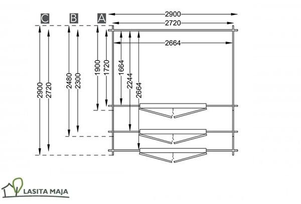 Lasita Maja Gartenhaus Blockbohlenhaus Satteldach Norah 230 inkl. Dachpappe