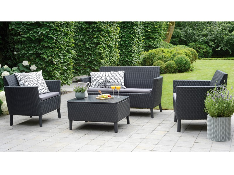 Best Gartenmöbel-Set Lounge-Gruppe Linosa 4-tlg. inkl. Sitzauflagen und Tisch mit Aufbewahrungsfunktion - Vollkunststoff - graphit/hellgrau