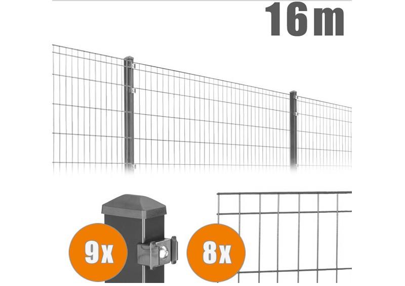 AOS Matte Michl Komplett-Zaun MICHL Länge 16m x Höhe 0,8 m anthrazit