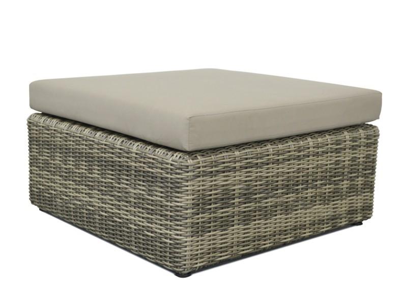Rattan Loungeelement Turino Hocker Tisch Farbe Grau Braun Meliert