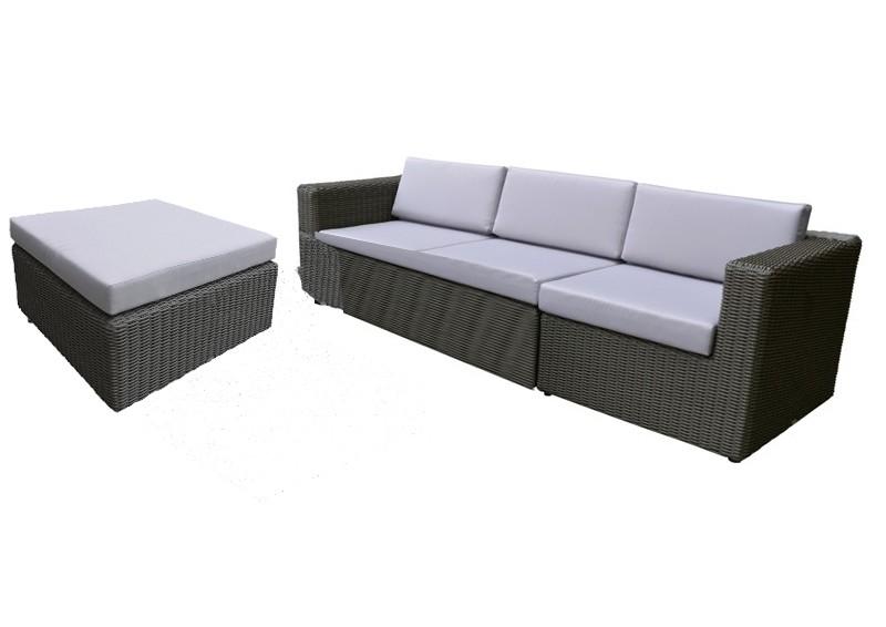 Rattan Loungegruppe Möbel Set 1 Turino - Farbe dunkelgrau / grau