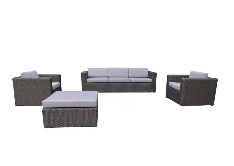 Rattan Loungegruppe Möbel Set 2 Turino - Farbe: dunkelgrau/grau