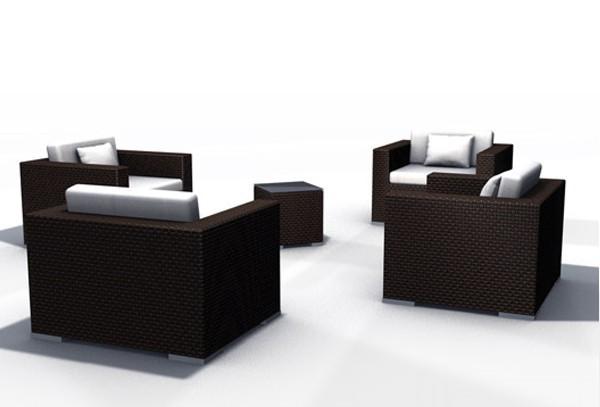Rattan XXL Loungemöbel Espace Luxus Set 6a - 4 Sitze inkl. Kissen - Farbe: Dunkelbraun