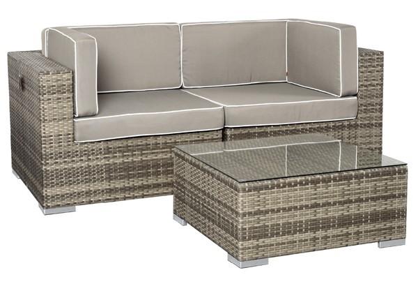 Rattan XXL Loungemöbel Set Espace 1 - 2-teilig - Farbe: grau braun meliert