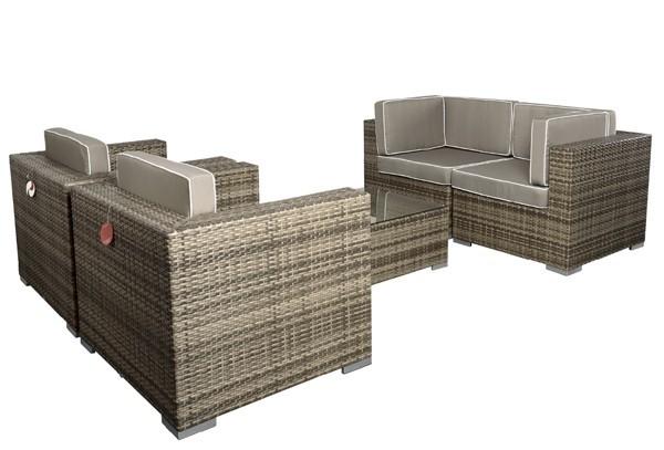 Rattan XXL Loungemöbel Set Espace 3 - 4-teilig - Farbe: grau braun meliert ohne Loungetisch