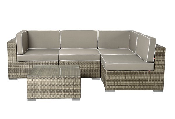 Rattan XXL Loungemöbel Set Espace 5 - 5-teilig - Farbe: grau braun meliert