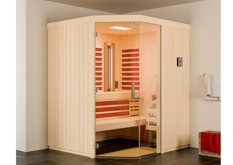 Infraworld Sauna auf Maß Optima mit Sole-Therme Espenholz 75 mm Elementbau von Länge 142 - 151 cm Breite 168 - 202 cm