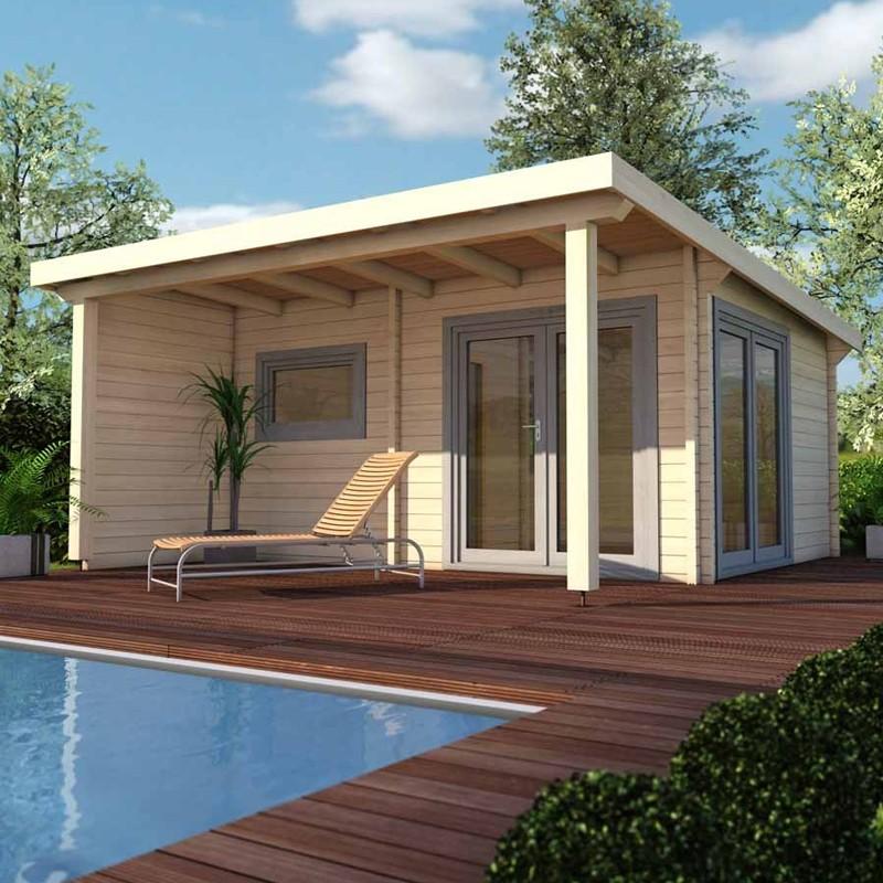Infraworld Standard-Ausführung 70mm Pultdachhaus Gartensauna aus nordischer Fichte - Bella 1 - naturbelassen
