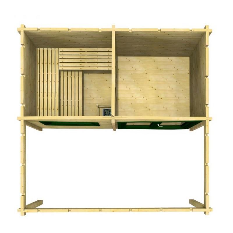 Infraworld Standard-Ausführung 70mm Walmdachhaus Gartensauna aus nordischer Fichte - Bella 2 - naturbelassen