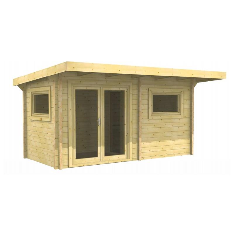 Infraworld Exklusiv-Ausführung 70mm Pultdachhaus Gartensauna aus nordischer Fichte - Bella 3 - naturbelassen - Fenster & Türen farbig lackiert