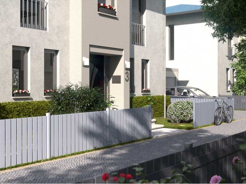 TraumGarten Vorgartenzaun Aluminium Squadra Rechteck silber - 180 x 90cm
