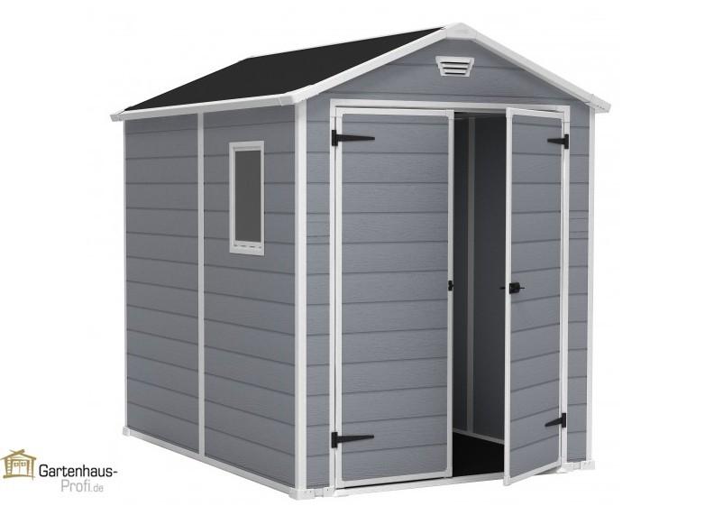 Tepro Kunststoff-Gerätehaus Gartenhaus Manor 6x8 - grau-weiß