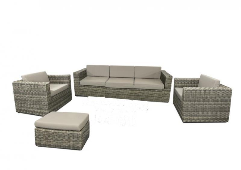 Rattan Loungegruppe Möbel Set 2 Turino - Farbe: grau-braun meliert
