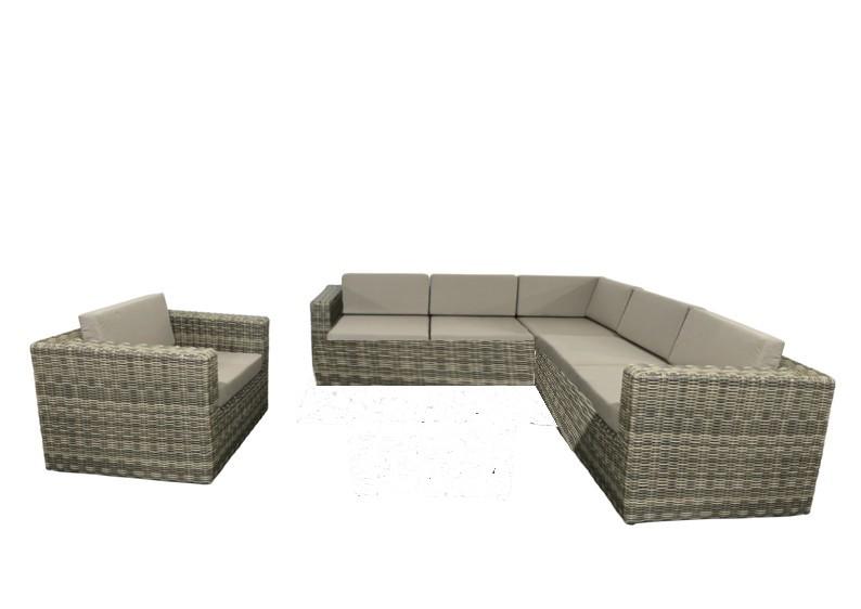 Rattan Loungegruppe Möbel Set 3 Turino - Farbe: grau-braun meliert