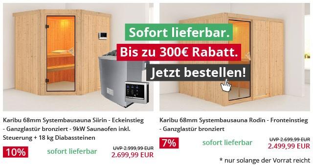 Sauna: Sofort lieferbar. Bis zu 300 Euro Rabatt. Jetzt bestellen!