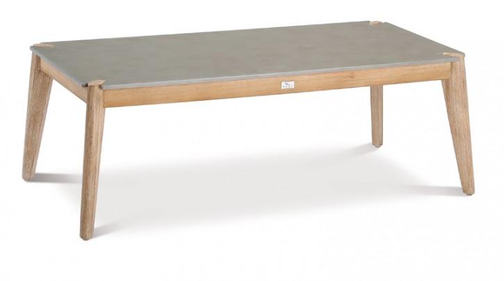 Best Loungetisch oder Gartentisch Samos rechteckig - 120x60x43 cm - Eukaltyptus/betongrau