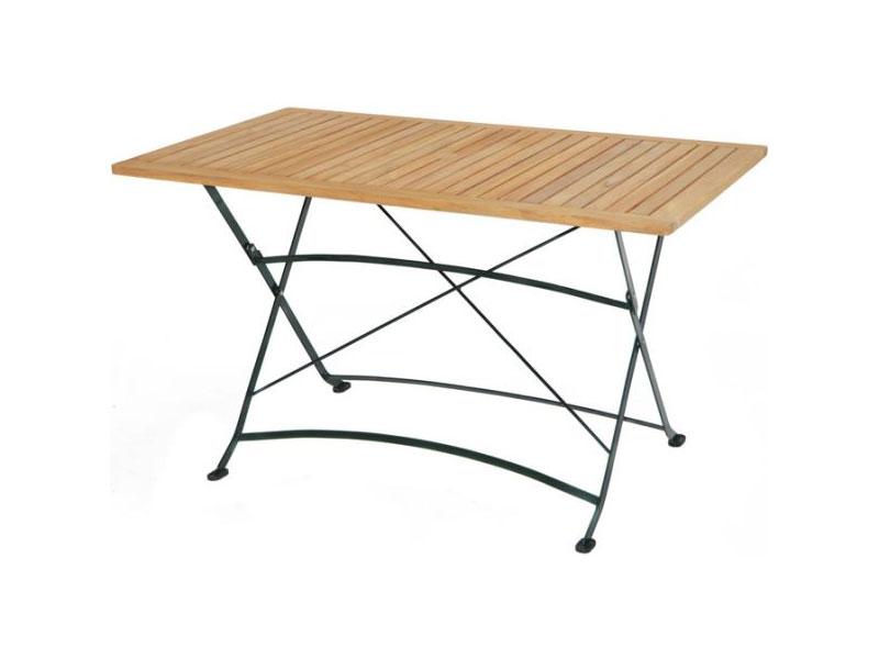Klapptisch Gartentisch.Ploss Gartenmöbel Klapptisch Gartentisch Verona Aus Teakholz Und Eisengestell 130 X 80 X 75 Cm