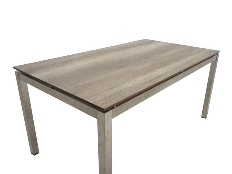 Ploss Gartenmöbel Dining Tisch Hudson rechteckig Edelstahlgestell mit HPL Tischplatte Holzoptik 158 x 90 x 75 cm