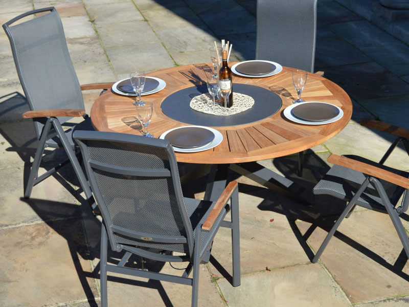 Ploss Gartenmöbel Gartentisch Esstisch Tobago Rund Aluminiumgestell