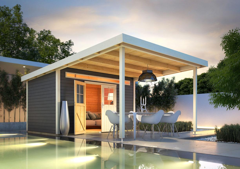 Karibu holz gartenhaus meppen 5 inkl vordach 3 2 m farbe for Holz doppeltur gartenhaus