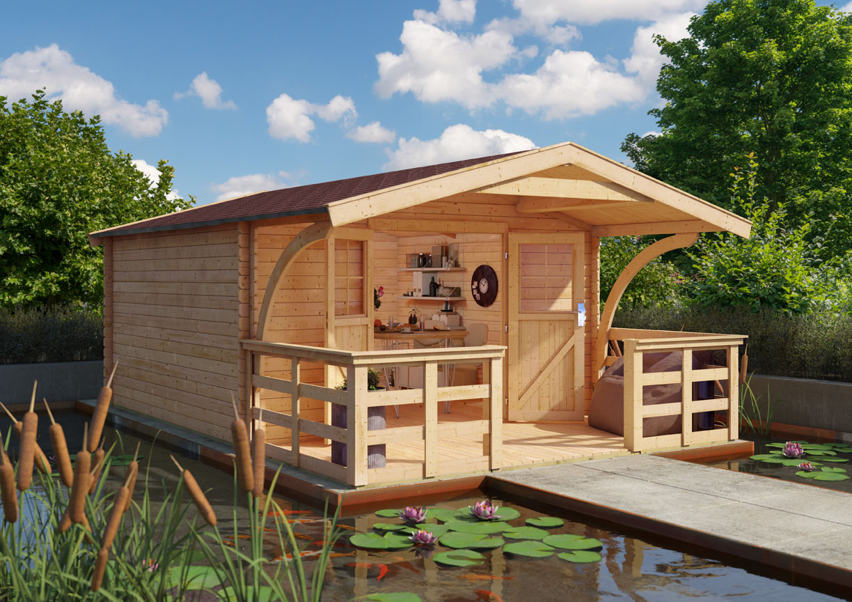 Karibu Holz Gartenhaus Buxtehude 6 inkl. Vordach und Terrasse Farbe ...