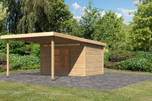Beliebt Woodfeeling Holz Gartenhaus Geldern 7 inkl. Vordach 3,2 m - 28mm XO39