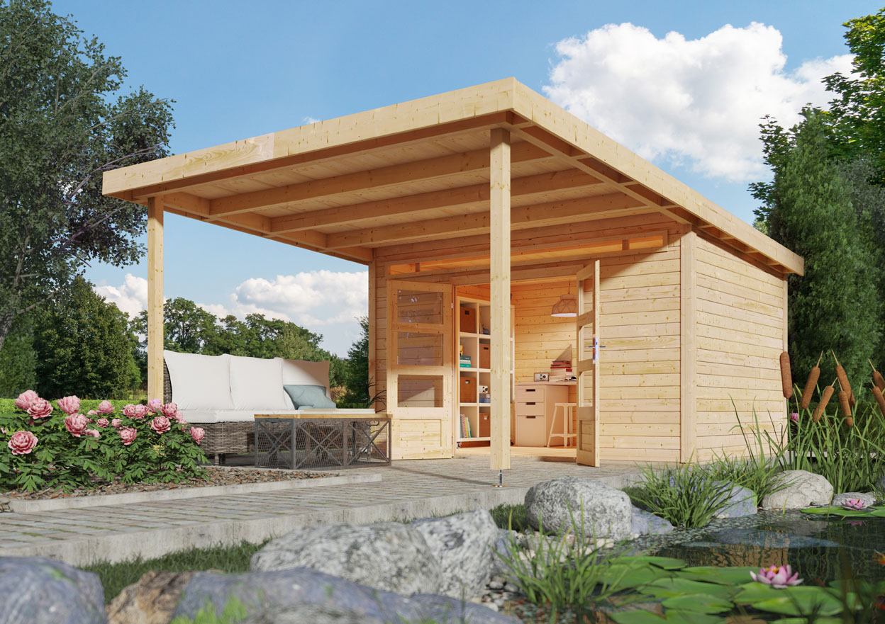 Bevorzugt Woodfeeling Holz Gartenhaus Geldern 9 inkl. Vordach 3,2 m - 28mm NK43
