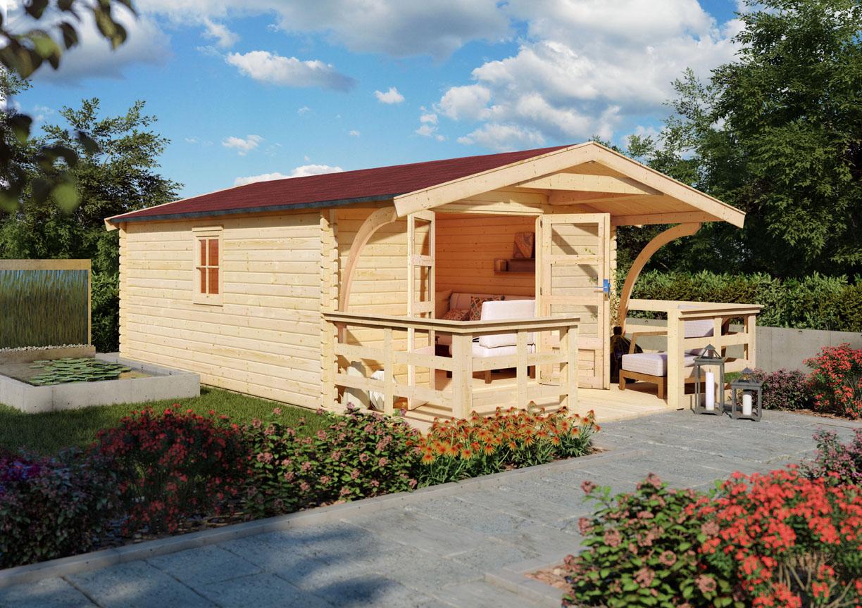 Woodfeeling Holz Gartenhaus Bayreuth 20 inkl. Vordach und Terrasse   20mm  Blockhaus Satteldach   Farbe naturbelassen