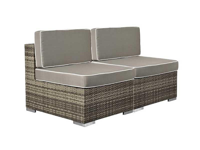 Balkonmöbel Set Rattan Lounge 2 Teilig In Grau Braun Meliert Inkl