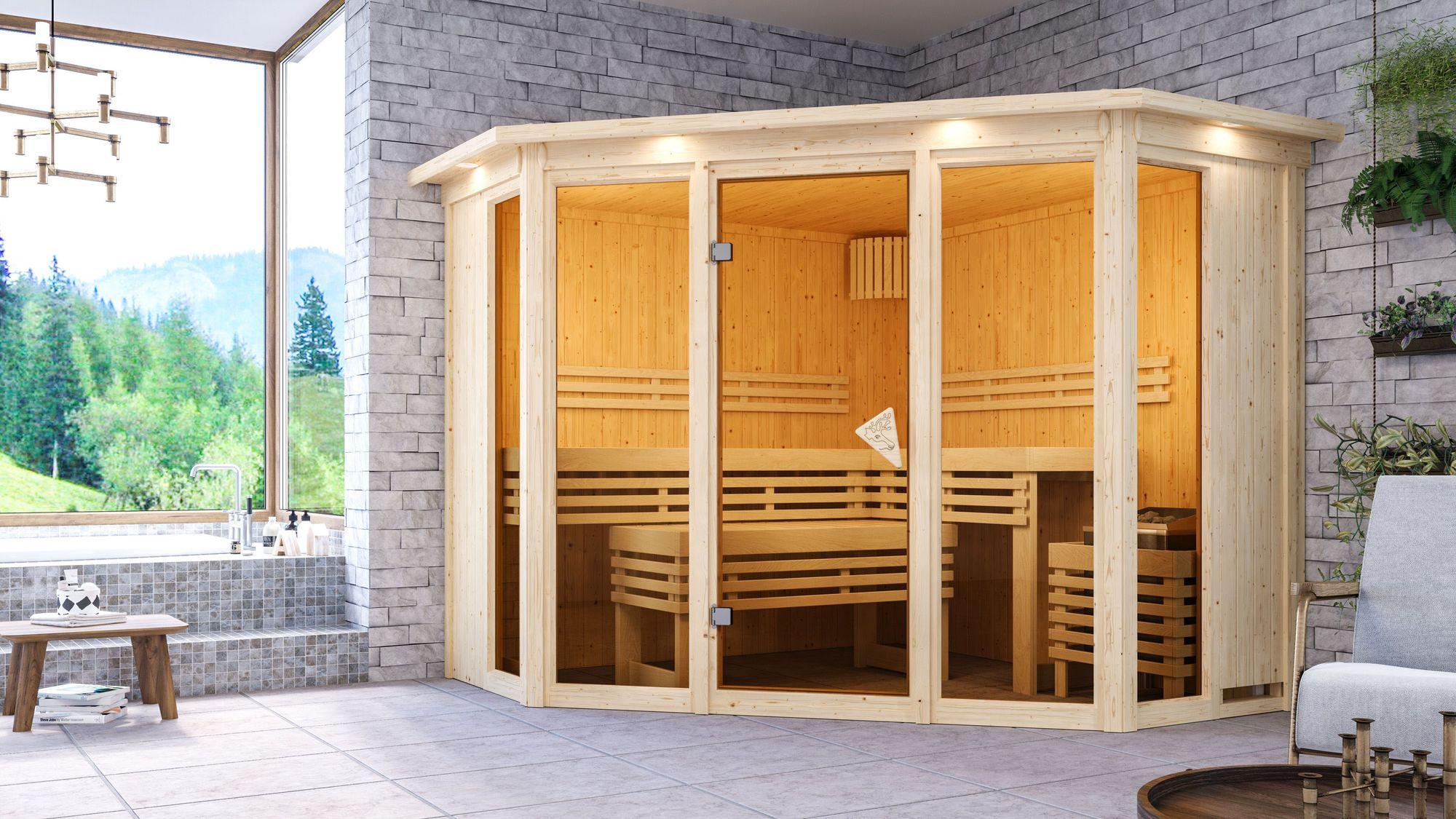 Karibu Sauna 68 mm Systemsauna Superior Alcinda 2 ohne Saunaofen -  Eckeinstieg - mit Dachkranz