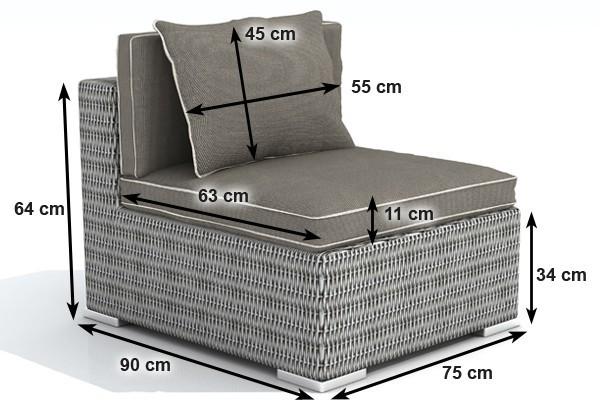 rattan xxl loungem bel espace mittelsofa farbe grau braun meliert. Black Bedroom Furniture Sets. Home Design Ideas