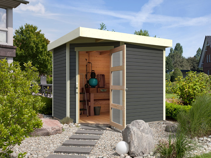Gut bekannt Woodfeeling Gartenhaus Schwandorf 5 Pultdach 19 mm System - terragrau RB46