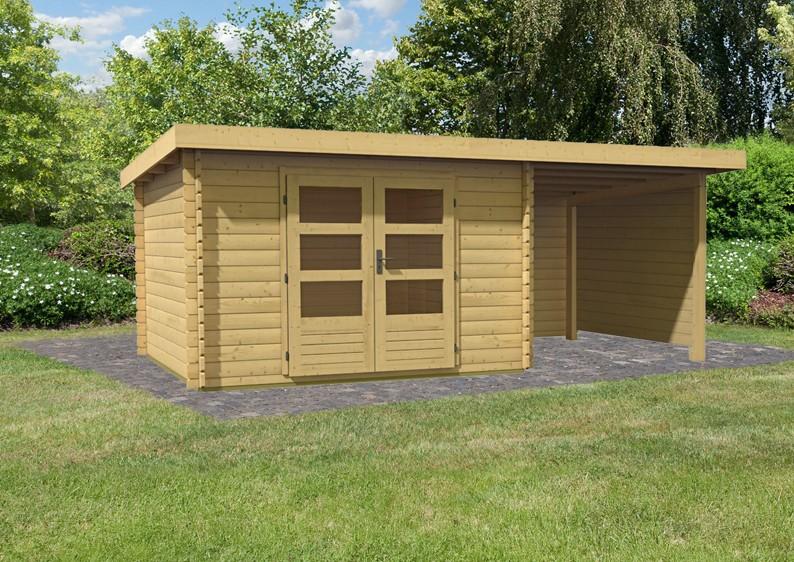 Woodfeeling Gartenhaus Pultdach Bastrup 5 - 28 mm mit 2 m ...