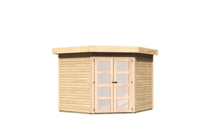 karibu gartenhaus goldendorf 5 flachdach 19 mm system natur. Black Bedroom Furniture Sets. Home Design Ideas