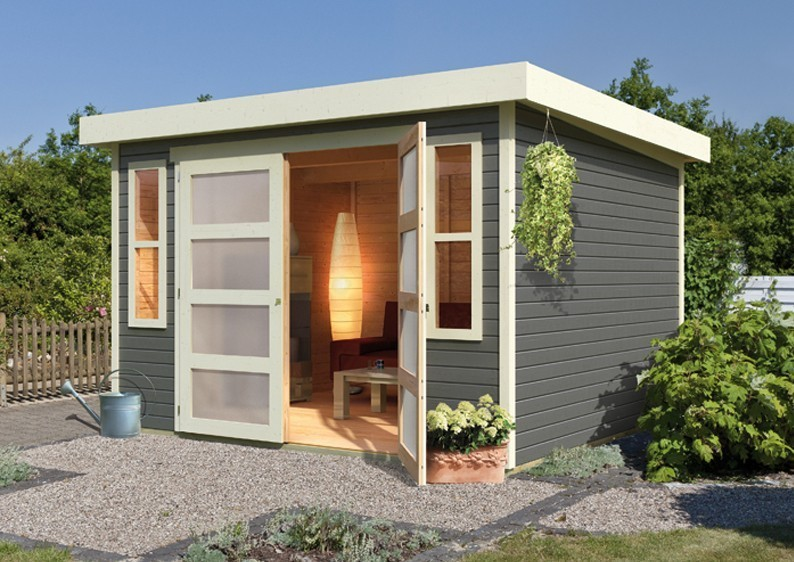 karibu gartenhaus m hlendorf 4 flachdach 19 mm system terragrau. Black Bedroom Furniture Sets. Home Design Ideas