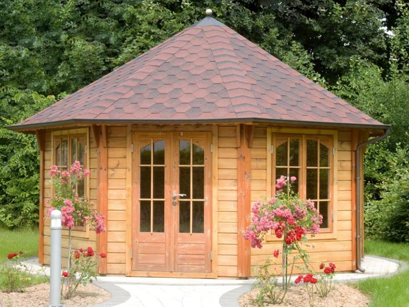 Wolff Finnhaus Holz-Gartenhaus 45mm GartenHolz Gartenpavillon aus Holz  Palermo 4.5 grün-schwarz