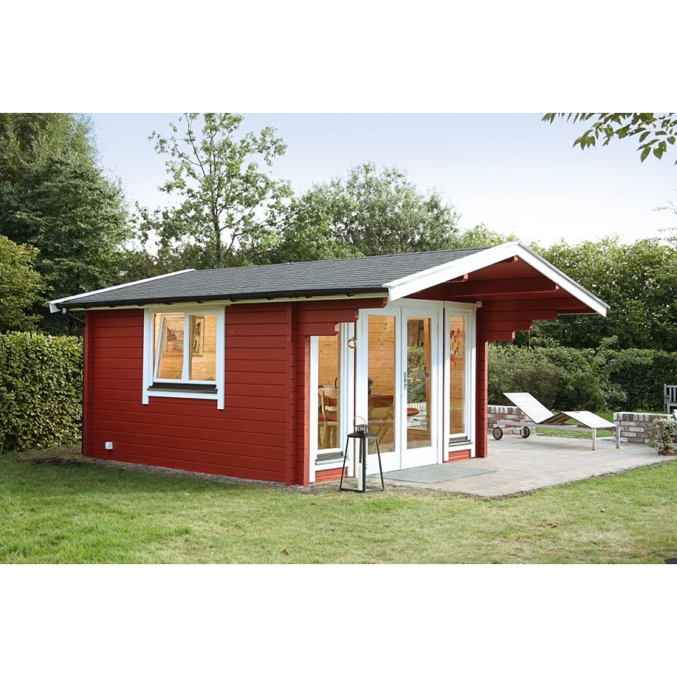 Wolff Finnhaus Gartenhaus Hammerfest 70 D Satteldach Bohlenmasse 470