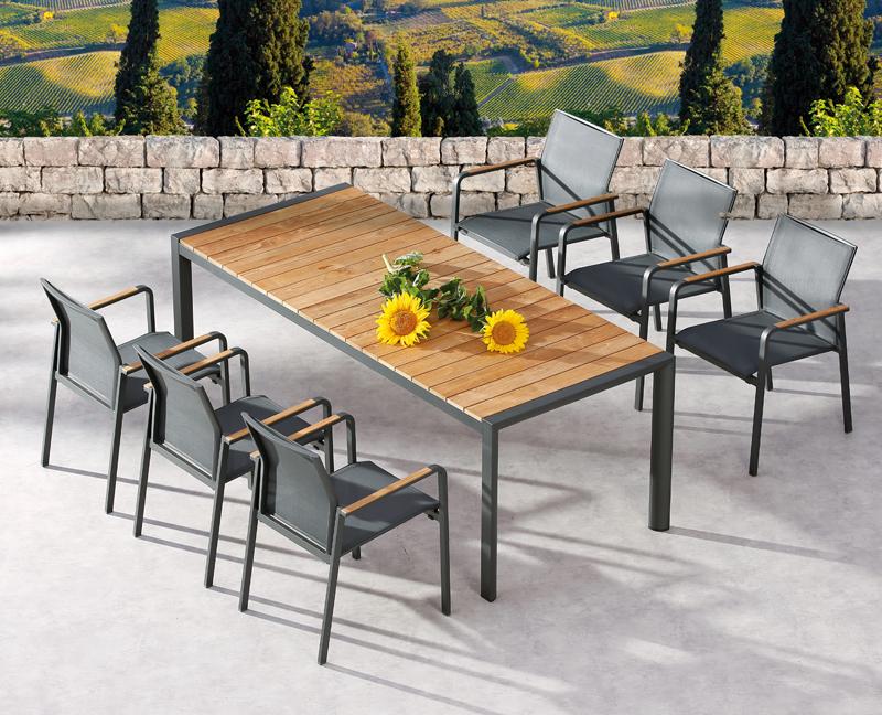 Best Gartentisch Paros Dining Teakholz Tisch Rechteckig Aluminiumteakholz Anthrazitteakholz 160 X 90 X 76 Cm