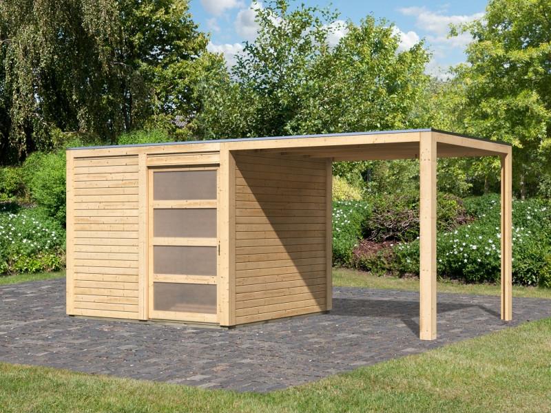 Karibu Holz Gartenhaus 28mm Qubic Im Set Mit Anbaudach
