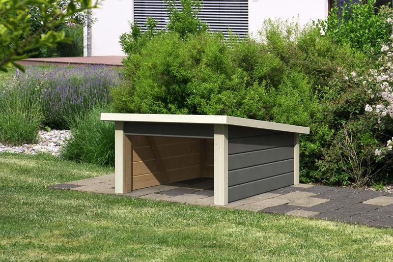 Woodfeeling Karibu Holz Garage 19 Mm Haus Fur Mahroboter 2 In Terragrau