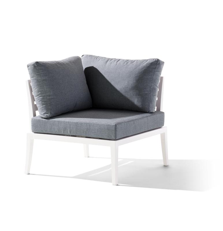 Sieger Aluminium Lounge Gruppe Serie CANNES, weiß / grau Eckteil