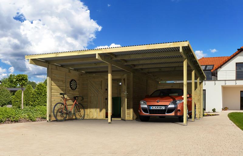 Karibu ECO Carport Aktion - Doppelcarport Eco 2 inkl. Geräteraum und ...