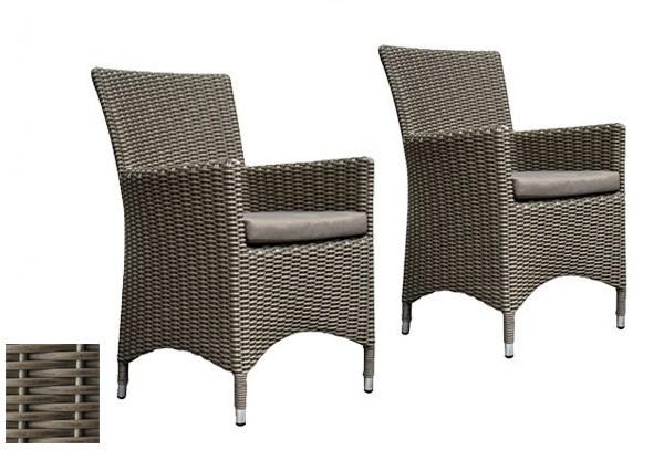 Rattan Gartensessel Stuhl Linea 2er Set Farbe Grau Taupe