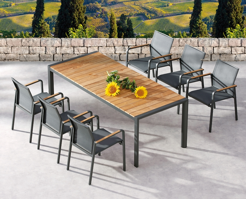 best paros gartenm bel set aluminium ergotex teak in anthrazit