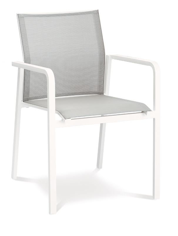 best stapelsessel rhodos dining sessel mit alu armlehne aluminium ergotex in wei grau. Black Bedroom Furniture Sets. Home Design Ideas
