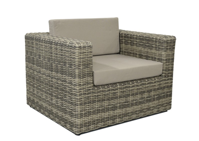 Rattan Loungeelement Turino Sessel Farbe Grau Braun Meliert